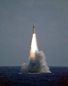A Polaris A3 fleet ballistic missile lifts off at 12:33 p.m. EST during a launch from the nuclear-powered strategic missile submarine USS ROBERT E. LEE (SSBN-601). The launch is taking place on the Eastern Test Range.